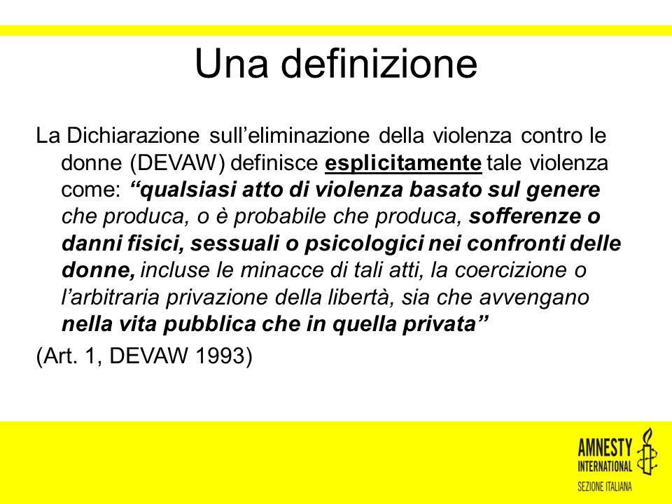Dal 2004 al 2010 Amnesty International ha promosso la campagna globale Mai più violenza sulle donne (SVAW)