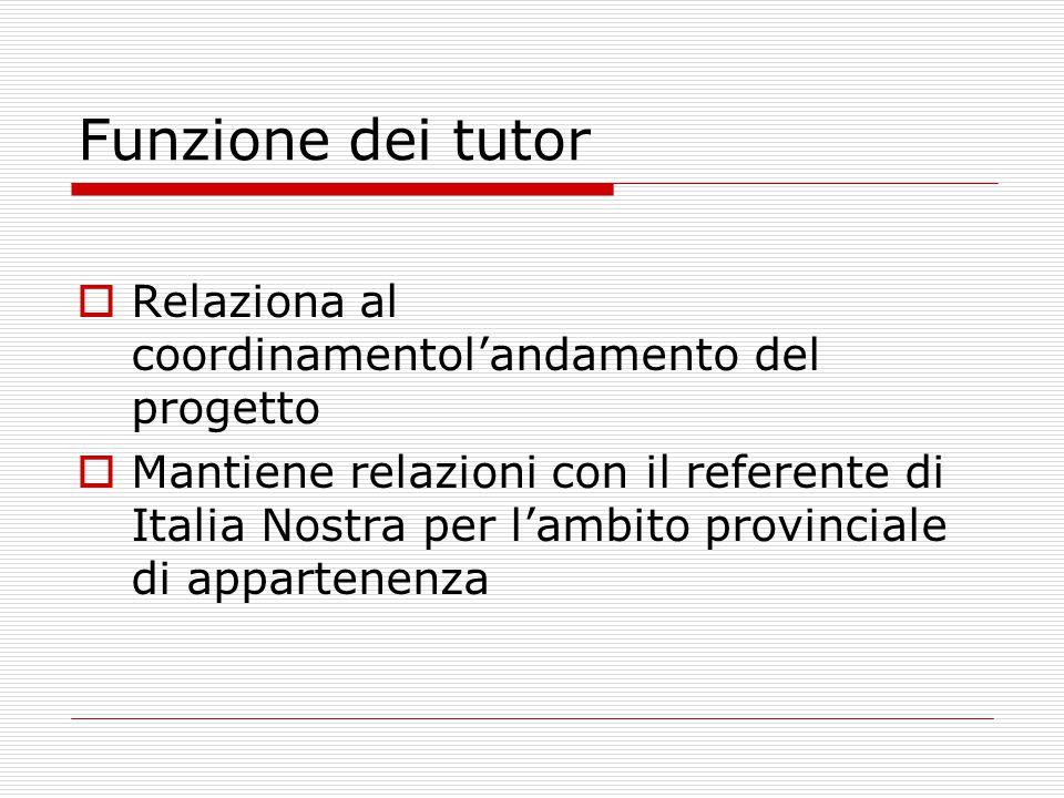 Funzione dei tutor  Relaziona al coordinamentol'andamento del progetto  Mantiene relazioni con il referente di Italia Nostra per l'ambito provinciale di appartenenza