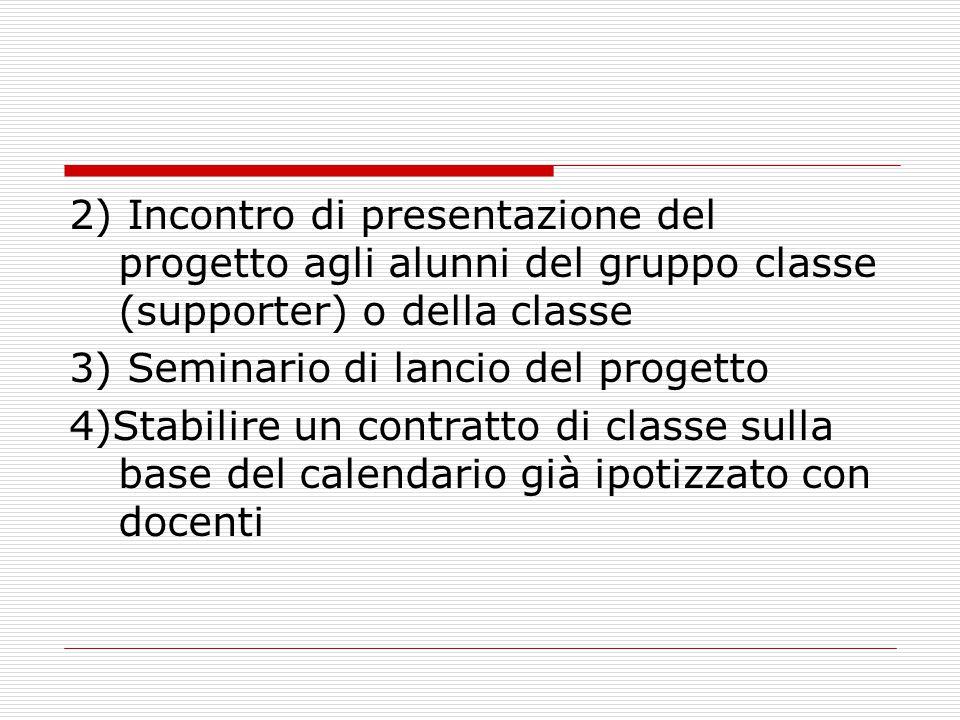 2) Incontro di presentazione del progetto agli alunni del gruppo classe (supporter) o della classe 3) Seminario di lancio del progetto 4)Stabilire un contratto di classe sulla base del calendario già ipotizzato con docenti