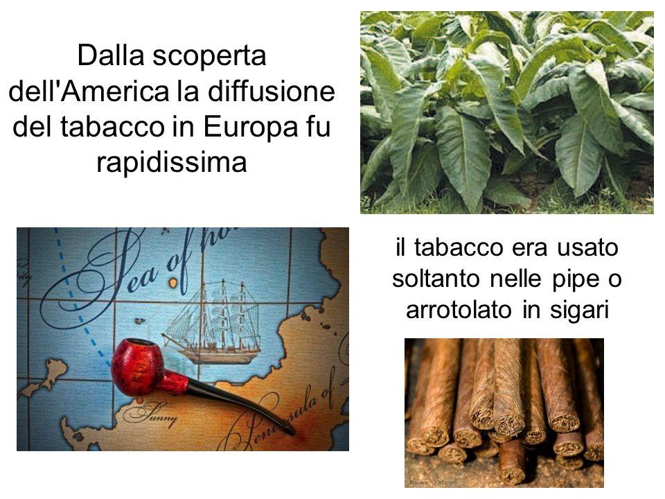 Dalla scoperta dell'America la diffusione del tabacco in Europa fu rapidissima il tabacco era usato soltanto nelle pipe o arrotolato in sigari