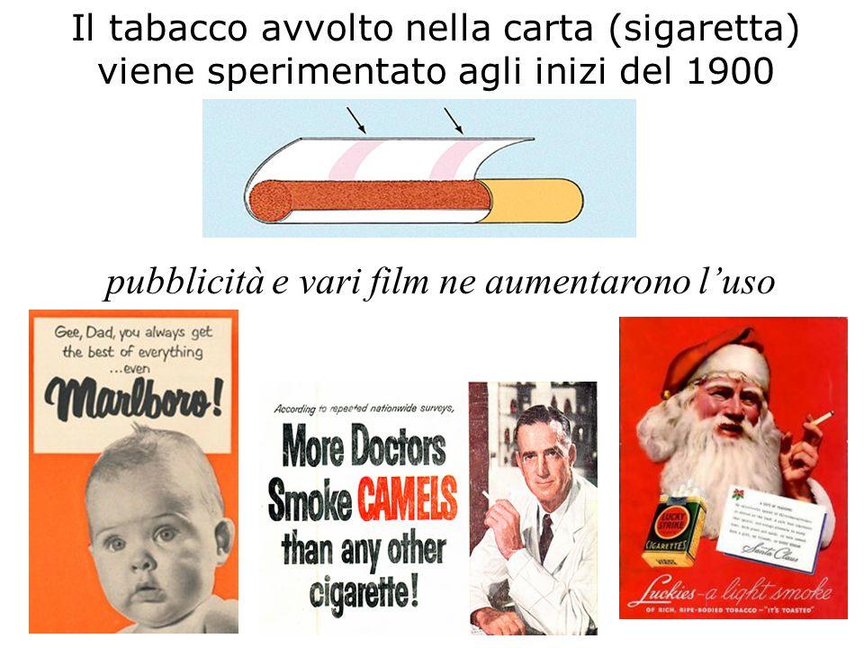 Il tabacco avvolto nella carta (sigaretta) viene sperimentato agli inizi del 1900 pubblicità e vari film ne aumentarono l'uso