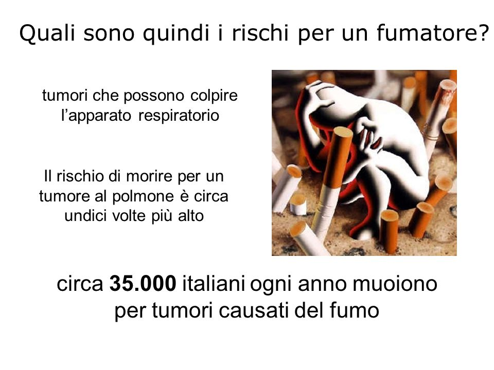 Quali sono quindi i rischi per un fumatore? tumori che possono colpire l'apparato respiratorio circa 35.000 italiani ogni anno muoiono per tumori caus