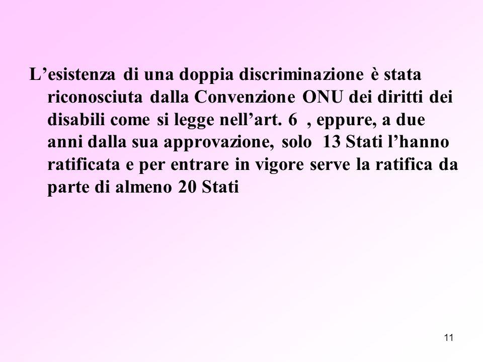 11 L'esistenza di una doppia discriminazione è stata riconosciuta dalla Convenzione ONU dei diritti dei disabili come si legge nell'art.