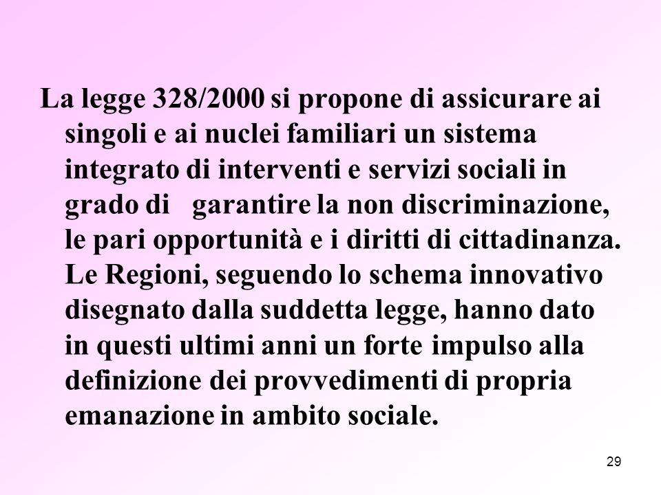 29 La legge 328/2000 si propone di assicurare ai singoli e ai nuclei familiari un sistema integrato di interventi e servizi sociali in grado di garantire la non discriminazione, le pari opportunità e i diritti di cittadinanza.