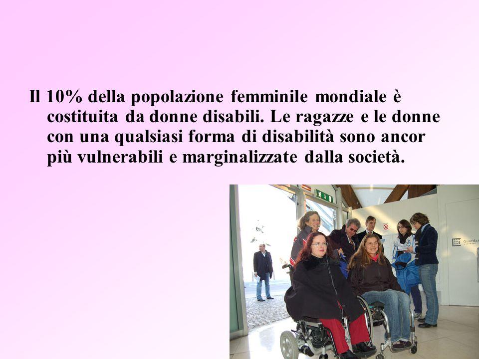 9 Il 10% della popolazione femminile mondiale è costituita da donne disabili.