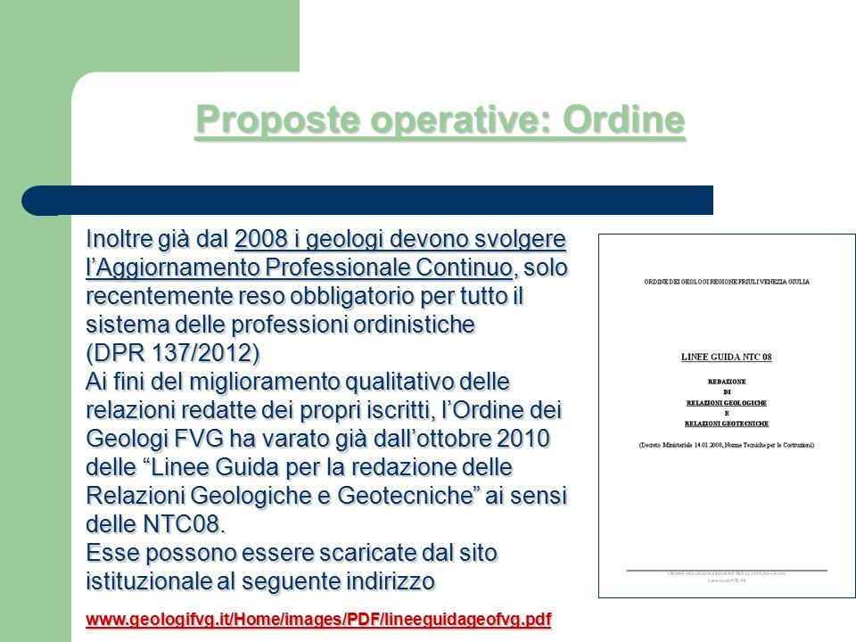 Proposte operative: Ordine Inoltre già dal 2008 i geologi devono svolgere l'Aggiornamento Professionale Continuo, solo recentemente reso obbligatorio