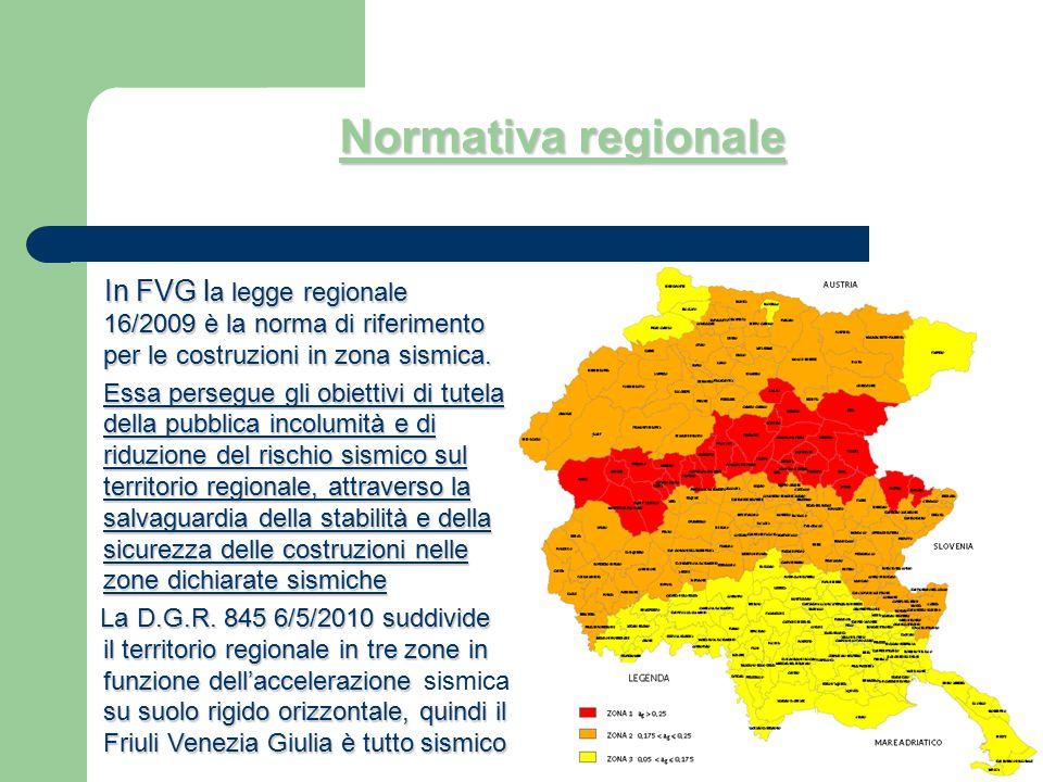 Normativa regionale In FVG l a legge regionale 16/2009 è la norma di riferimento per le costruzioni in zona sismica. In FVG l a legge regionale 16/200
