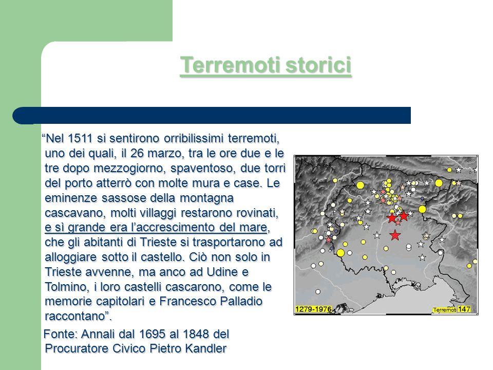 """Terremoti storici """"Nel 1511 si sentirono orribilissimi terremoti, uno dei quali, il 26 marzo, tra le ore due e le tre dopo mezzogiorno, spaventoso, du"""