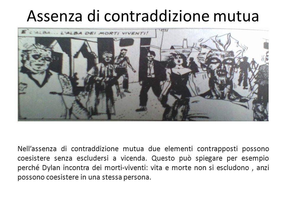 Assenza di contraddizione mutua Nell'assenza di contraddizione mutua due elementi contrapposti possono coesistere senza escludersi a vicenda. Questo p