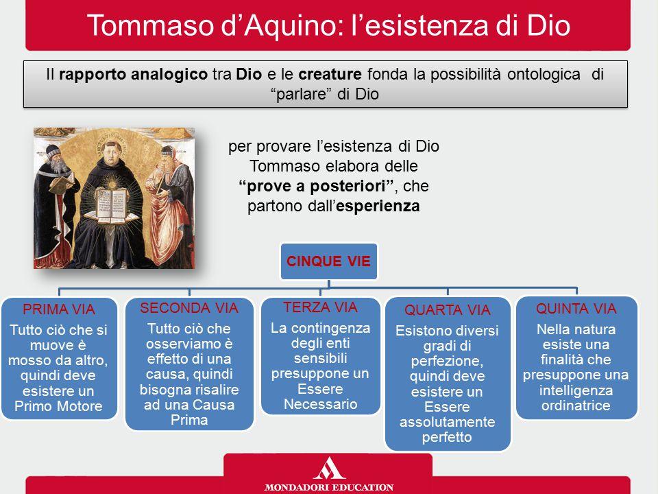 """Tommaso d'Aquino: l'esistenza di Dio Il rapporto analogico tra Dio e le creature fonda la possibilità ontologica di """"parlare"""" di Dio CINQUE VIE PRIMA"""