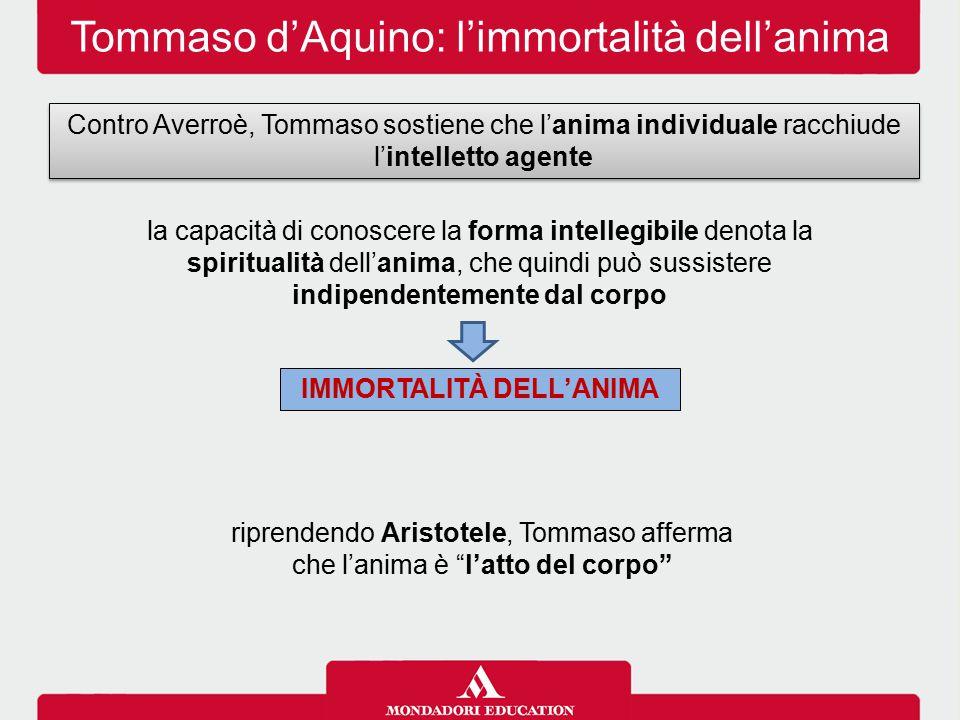 Tommaso d'Aquino: l'immortalità dell'anima la capacità di conoscere la forma intellegibile denota la spiritualità dell'anima, che quindi può sussister