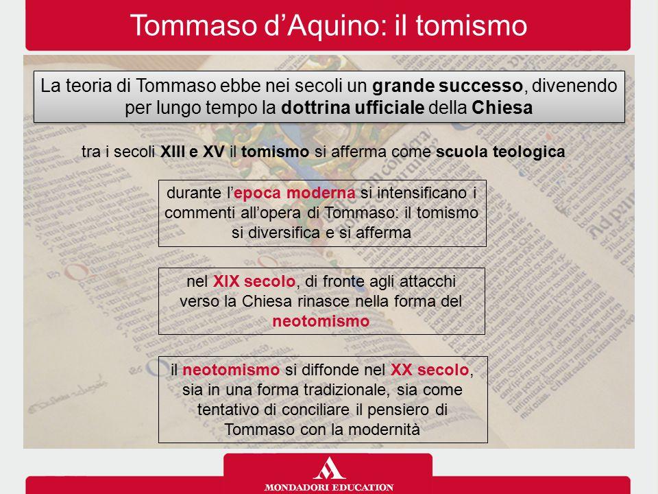 Tommaso d'Aquino: il tomismo La teoria di Tommaso ebbe nei secoli un grande successo, divenendo per lungo tempo la dottrina ufficiale della Chiesa tra