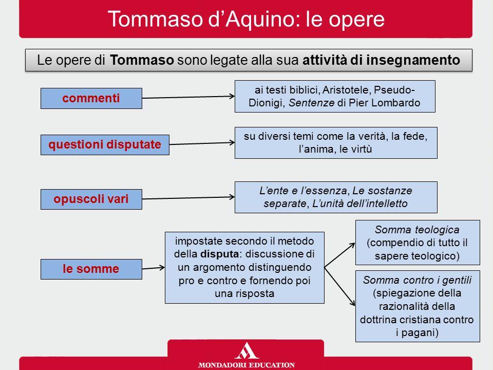 Tommaso d'Aquino: le opere Le opere di Tommaso sono legate alla sua attività di insegnamento commenti questioni disputate opuscoli vari le somme ai te