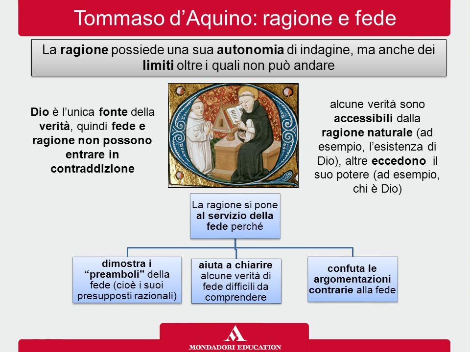 Tommaso d'Aquino: ragione e fede La ragione possiede una sua autonomia di indagine, ma anche dei limiti oltre i quali non può andare alcune verità son