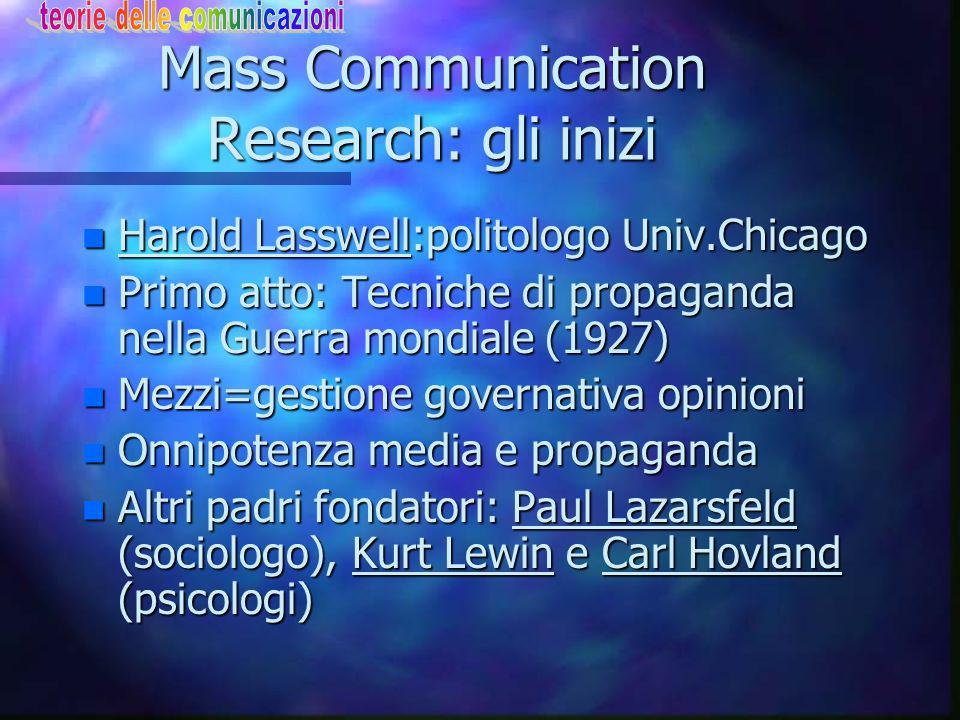 Communication Research La crisi: le ragioni n Fine Anni '70 coscienza della crisi n Complessità dell'oggetto di indagine n Bersaglio sfugge in complicaz.