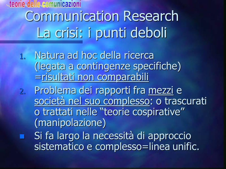 Communication Research La crisi: i punti deboli 1.