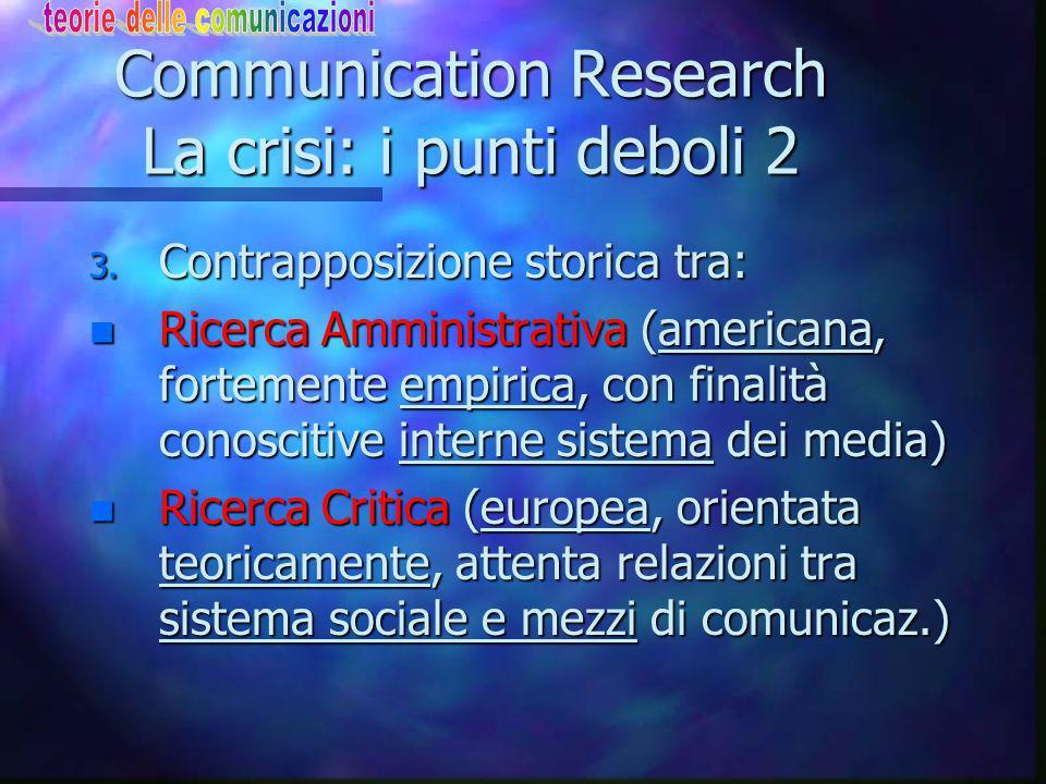 Communication Research La crisi: i punti deboli 2 3.