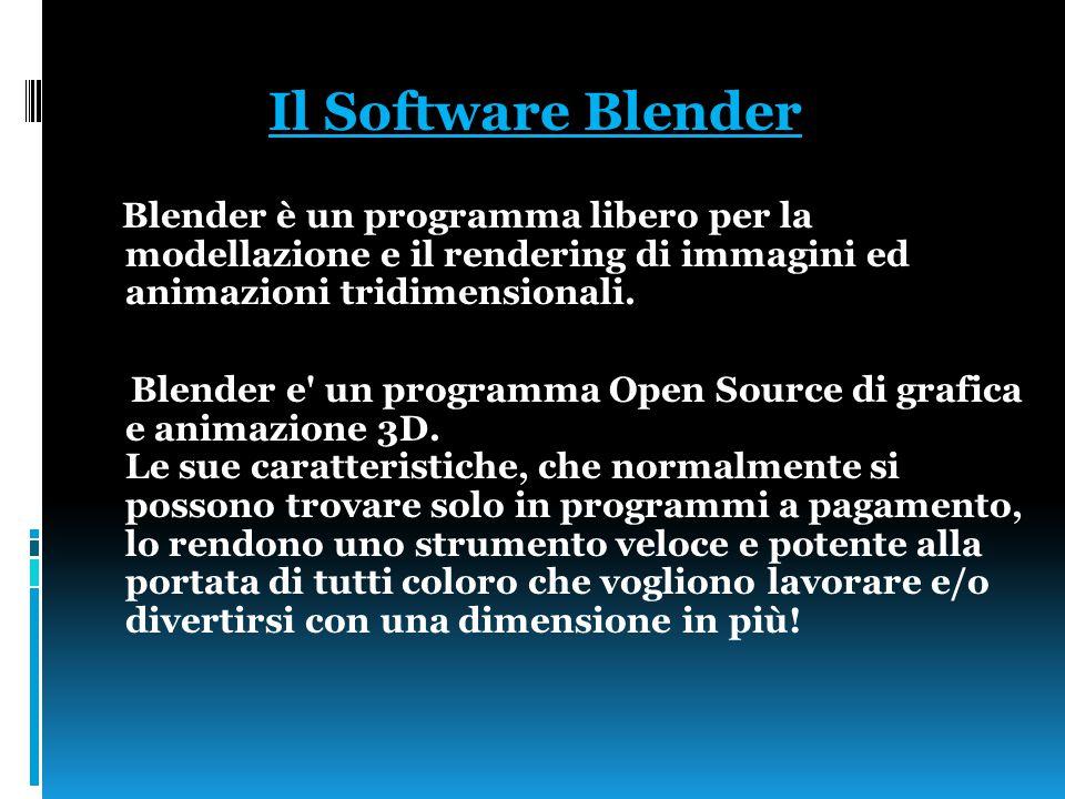 Il Software Blender Blender è un programma libero per la modellazione e il rendering di immagini ed animazioni tridimensionali.