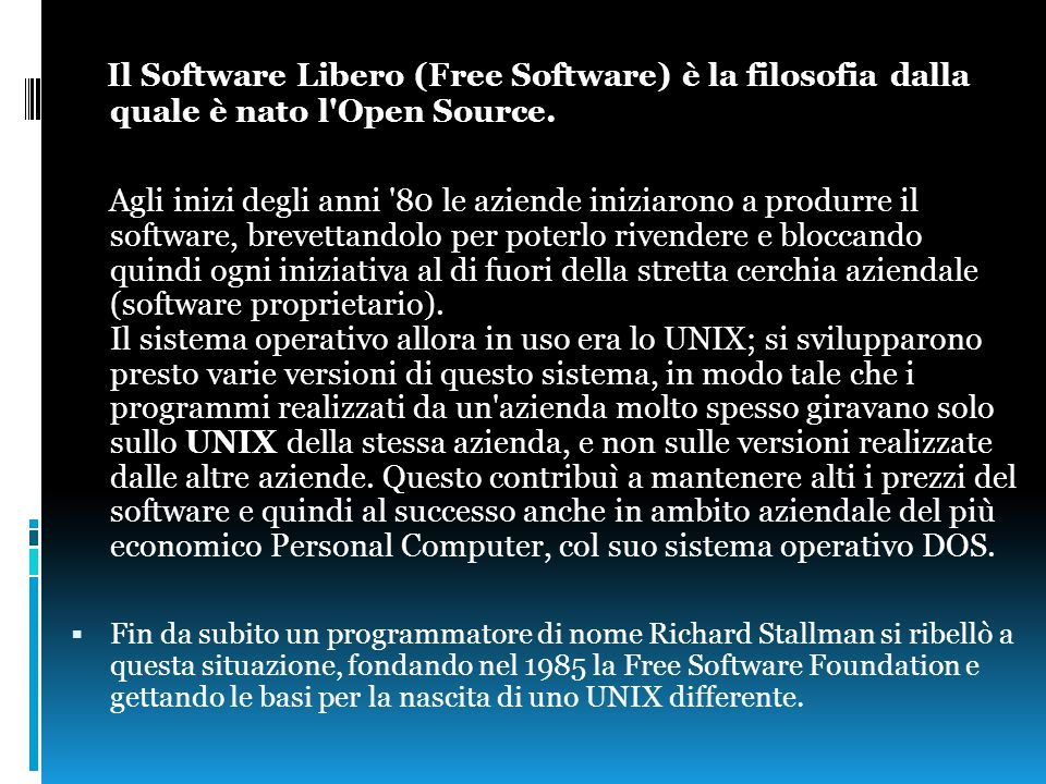 Per poter essere definito libero, un software deve garantire le quattro libertà fondamentali: 1.