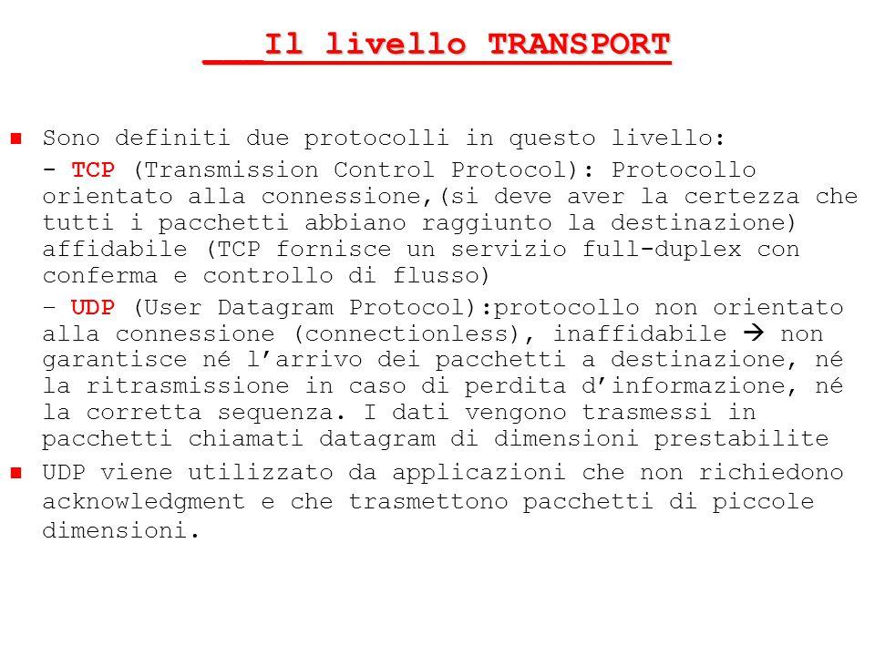 ___Il livello TRANSPORT Sono definiti due protocolli in questo livello: - TCP (Transmission Control Protocol): Protocollo orientato alla connessione,(