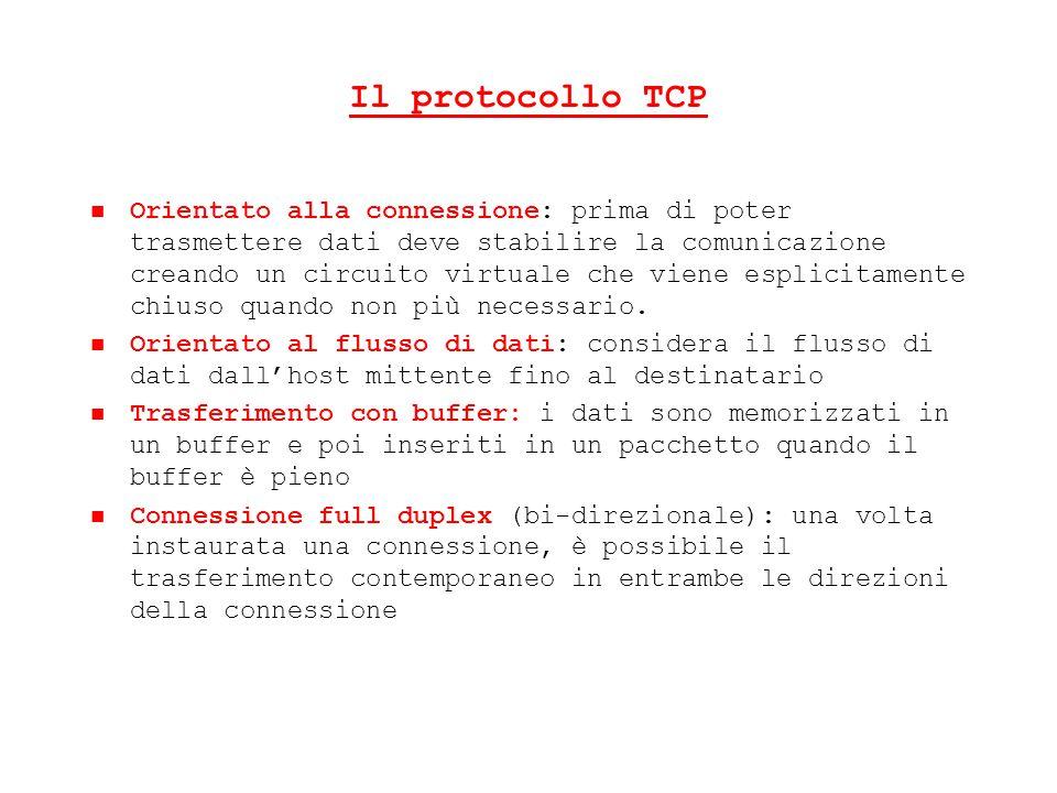 Il protocollo TCP Orientato alla connessione: prima di poter trasmettere dati deve stabilire la comunicazione creando un circuito virtuale che viene e