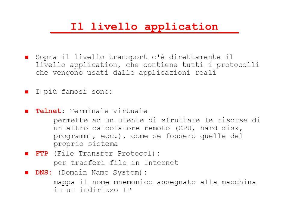 ___Il livello application___ Sopra il livello transport c'è direttamente il livello application, che contiene tutti i protocolli che vengono usati dal
