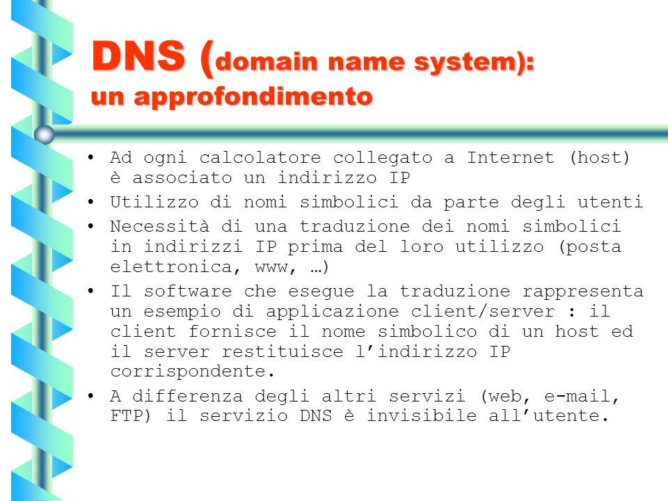 DNS ( domain name system): un approfondimento Ad ogni calcolatore collegato a Internet (host) è associato un indirizzo IP Utilizzo di nomi simbolici d