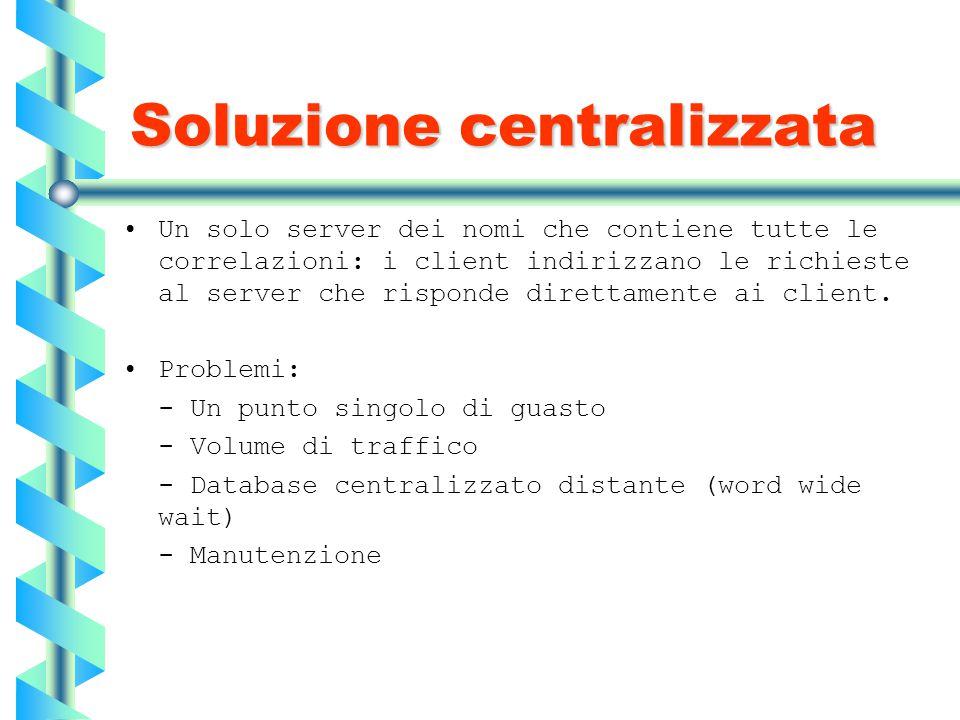 Soluzione centralizzata Un solo server dei nomi che contiene tutte le correlazioni: i client indirizzano le richieste al server che risponde direttame