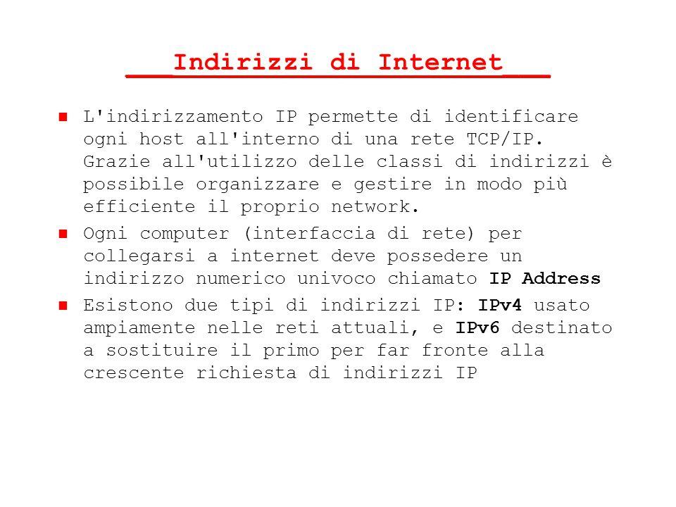 ___Indirizzi di Internet___ L'indirizzamento IP permette di identificare ogni host all'interno di una rete TCP/IP. Grazie all'utilizzo delle classi di