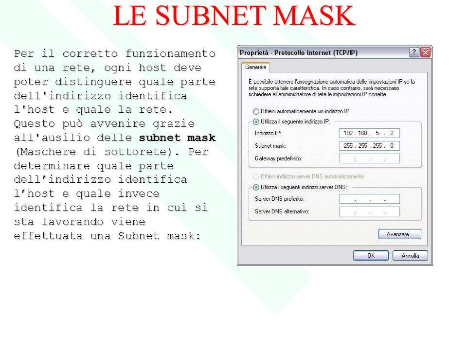 LE SUBNET MASK Per il corretto funzionamento di una rete, ogni host deve poter distinguere quale parte dell'indirizzo identifica l'host e quale la ret