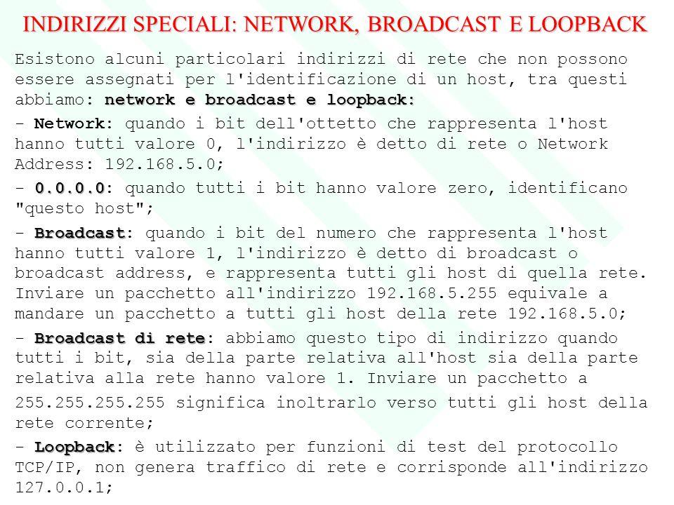 INDIRIZZI SPECIALI: NETWORK, BROADCAST E LOOPBACK network e broadcast e loopback: Esistono alcuni particolari indirizzi di rete che non possono essere