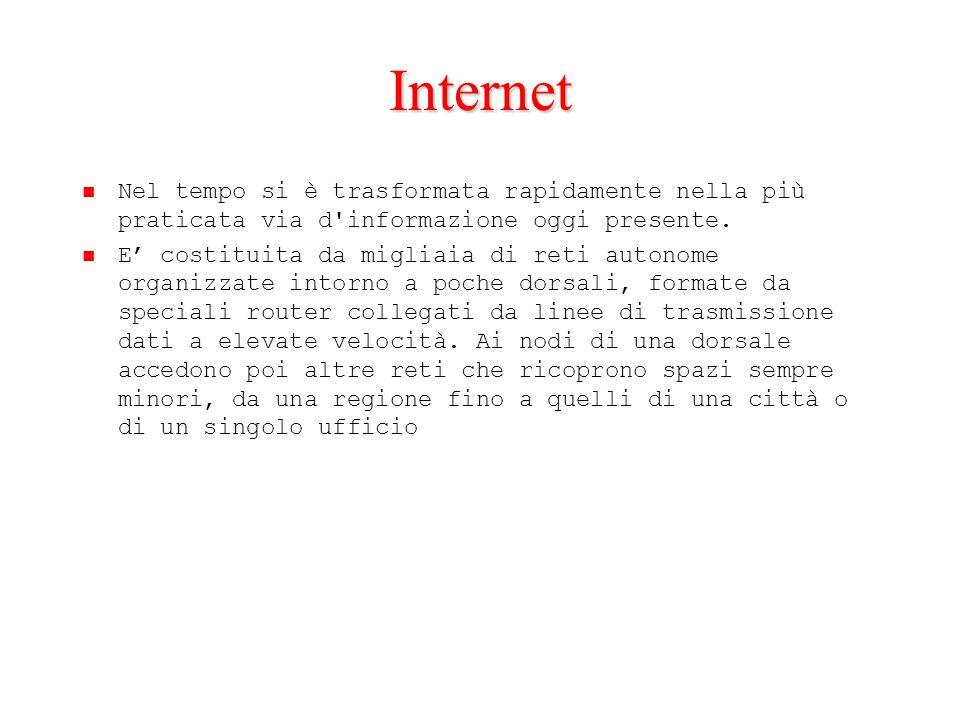 Internet Nel tempo si è trasformata rapidamente nella più praticata via d'informazione oggi presente. E' costituita da migliaia di reti autonome organ