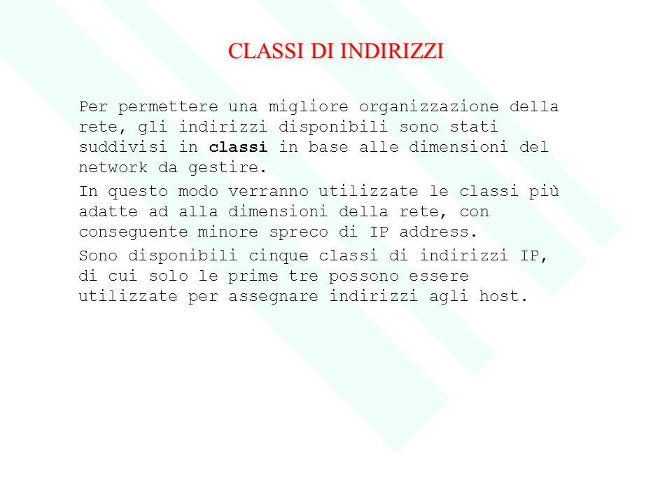 CLASSI DI INDIRIZZI Per permettere una migliore organizzazione della rete, gli indirizzi disponibili sono stati suddivisi in classi in base alle dimen