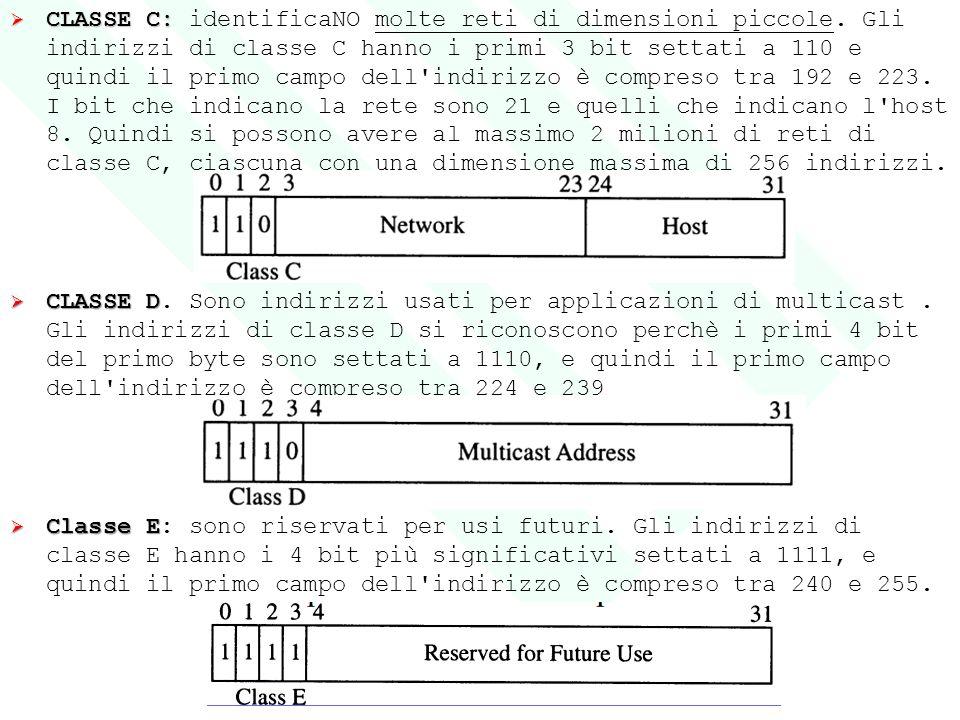  CLASSE C:  CLASSE C: identificaNO molte reti di dimensioni piccole. Gli indirizzi di classe C hanno i primi 3 bit settati a 110 e quindi il primo c