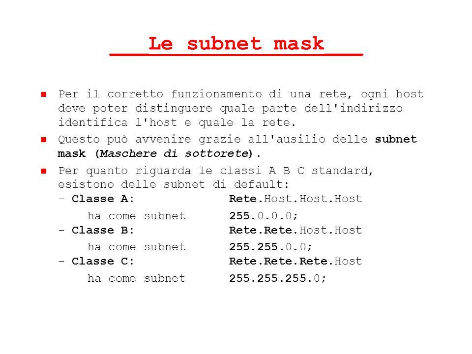 ___Le subnet mask___ Per il corretto funzionamento di una rete, ogni host deve poter distinguere quale parte dell'indirizzo identifica l'host e quale