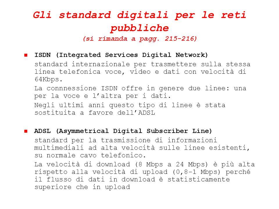 Gli standard digitali per le reti pubbliche (si rimanda a pagg. 215-216) ISDN (Integrated Services Digital Network) standard internazionale per trasme