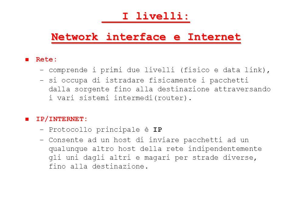 ___I livelli: Network interface e Internet Rete: – –comprende i primi due livelli (fisico e data link), – –si occupa di istradare fisicamente i pacche