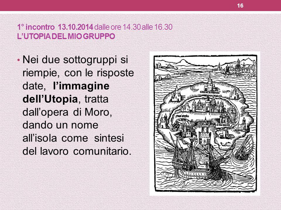 1° incontro 13.10.2014 dalle ore 14.30 alle 16.30 L'UTOPIA DEL MIO GRUPPO Nei due sottogruppi si riempie, con le risposte date, l'immagine dell'Utopia