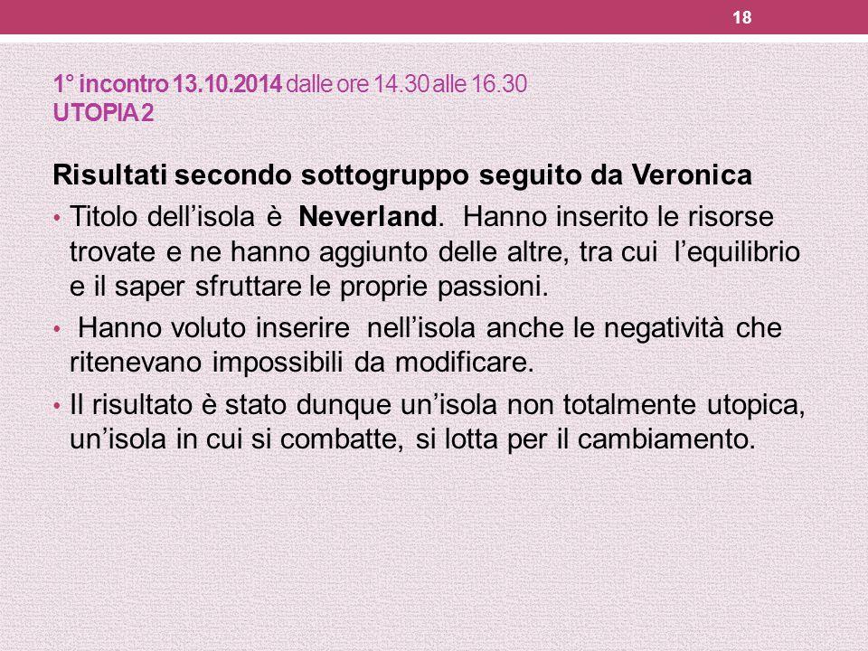 1° incontro 13.10.2014 dalle ore 14.30 alle 16.30 UTOPIA 2 Risultati secondo sottogruppo seguito da Veronica Titolo dell'isola è Neverland. Hanno inse