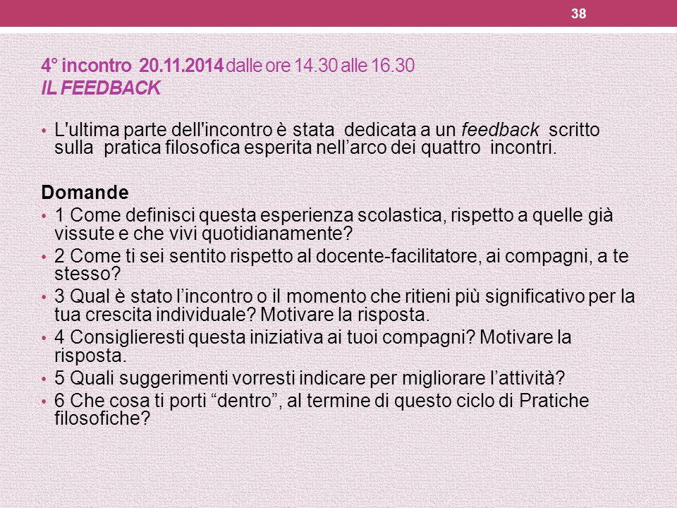 4° incontro 20.11.2014 dalle ore 14.30 alle 16.30 IL FEEDBACK L'ultima parte dell'incontro è stata dedicata a un feedback scritto sulla pratica filoso