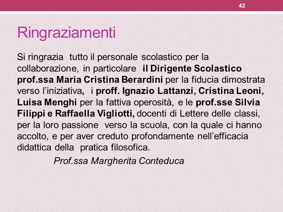 Ringraziamenti Si ringrazia tutto il personale scolastico per la collaborazione, in particolare il Dirigente Scolastico prof.ssa Maria Cristina Berard