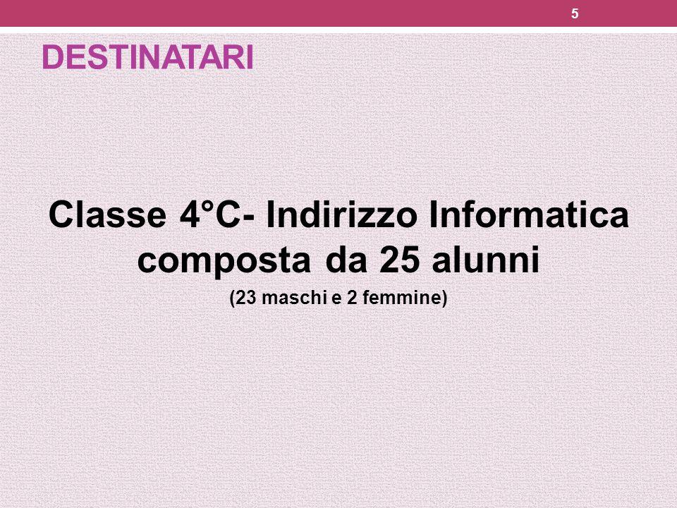 DESTINATARI Classe 4°C- Indirizzo Informatica composta da 25 alunni (23 maschi e 2 femmine) 5