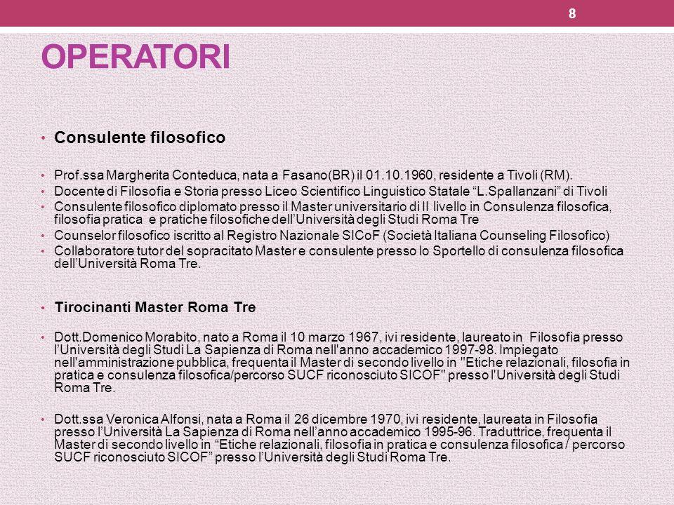 OPERATORI Consulente filosofico Prof.ssa Margherita Conteduca, nata a Fasano(BR) il 01.10.1960, residente a Tivoli (RM). Docente di Filosofia e Storia