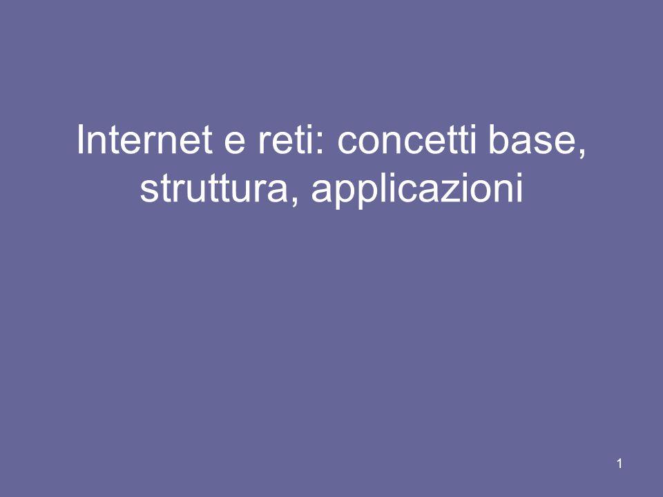 1 Internet e reti: concetti base, struttura, applicazioni