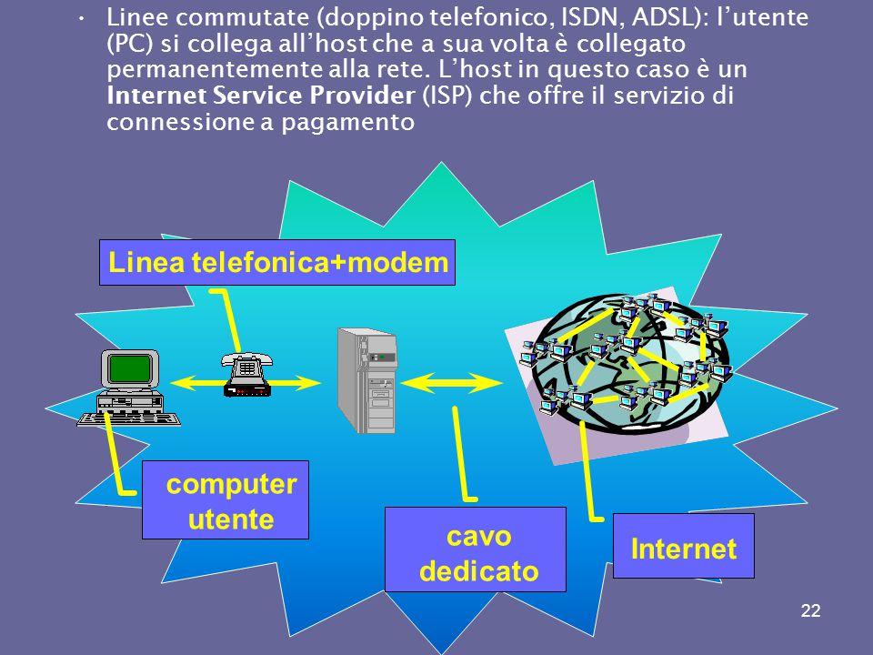 21 La tipologia di connessioni con Internet (fisiche) Linee dedicate : l'utente (computer) è collegato alla rete con connessione permanente ( es. univ