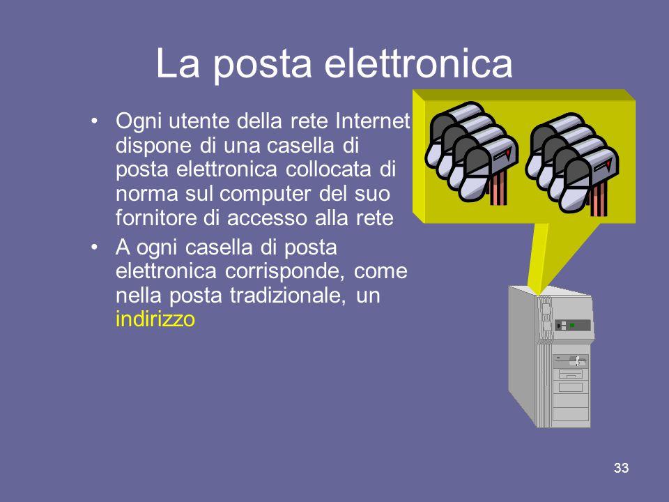 32 La posta elettronica La posta elettronica o e-mail permette ad ogni utente di inviare e ricevere messaggi scritti a e da ogni altro utente di Internet