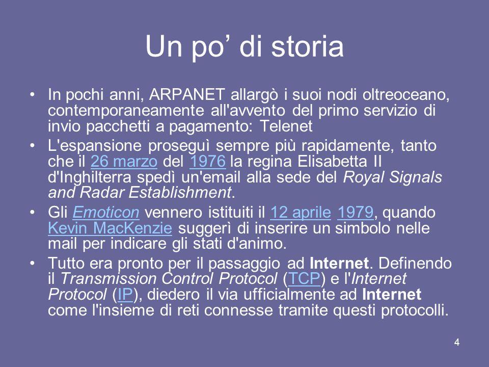 14 I nomi di Internet Tale sistema si chiama Domain Name Service, e i nomi assegnati ai computer su Internet sono detti nomi di dominio Essi sono composti da sequenze di caratteri alfanumerici divise da punti