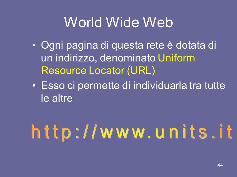 43 World Wide Web Lungo questa trama ogni utente può costruire i suoi percorsi di lettura, guidato dai suoi interessi e dalla sua curiosità Un simile sistema di organizzazione delle informazioni viene denominato ipertesto World Wide Web dunque è un ipertesto multimediale distribuito sulla rete Internet