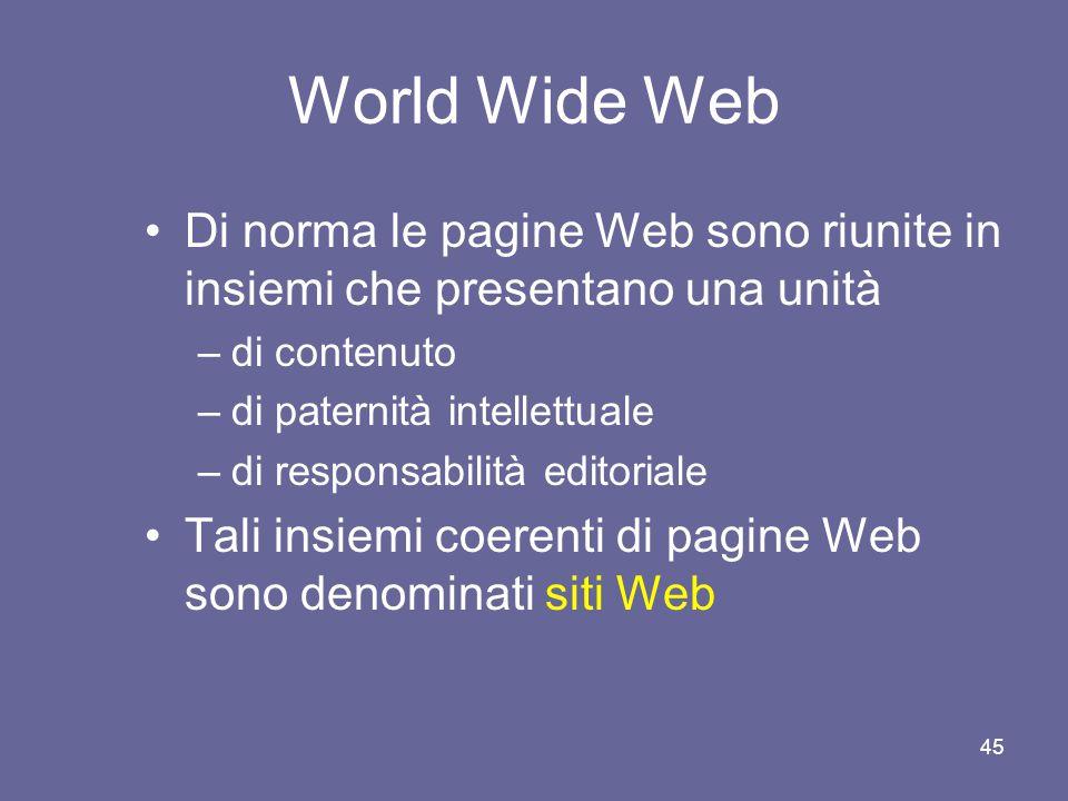 44 World Wide Web Ogni pagina di questa rete è dotata di un indirizzo, denominato Uniform Resource Locator (URL) Esso ci permette di individuarla tra