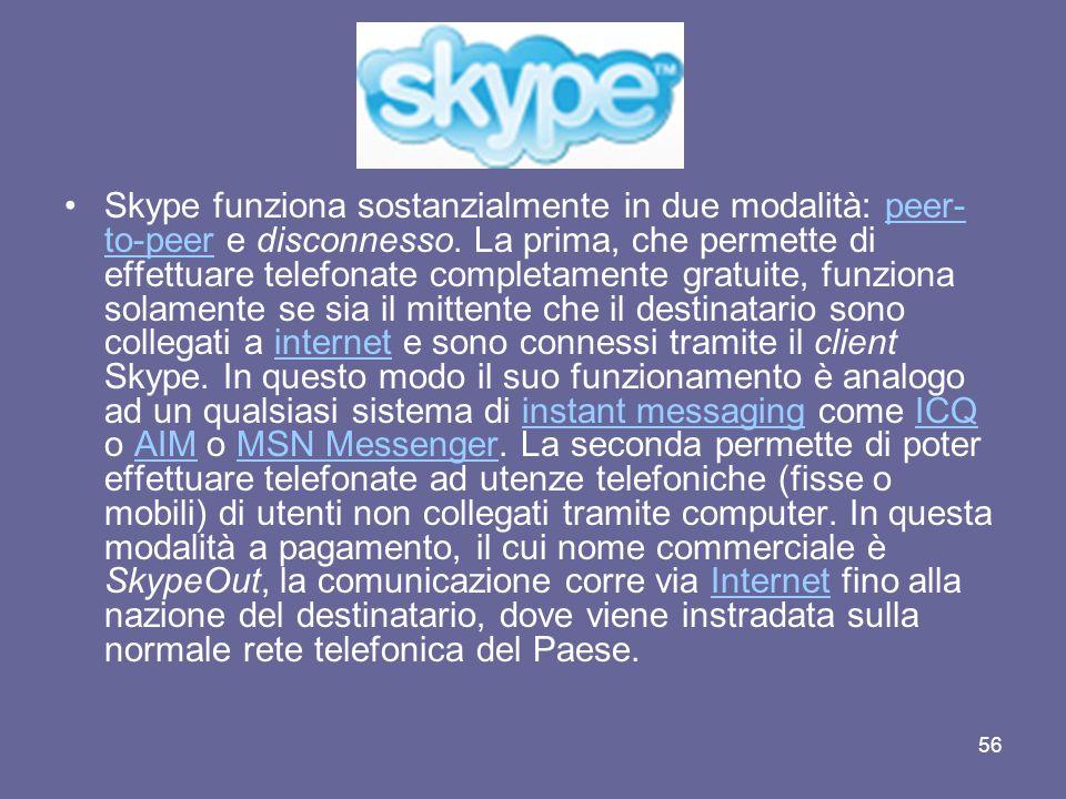 55 Skype: è un software di instant messaging e VoIP, introdotto nel 2002, capace di unire caratteristiche presenti nei client più comuni (chat, salvataggio delle conversazioni, trasferimento di file) ad un sistema di telefonate basato su un network Peer-to-peer.instant messagingVoIP2002chatPeer-to-peer Gli sviluppatori sono gli stessi che hanno realizzato il popolare client di file sharing Kazaa, ossia la Sharman Networks.